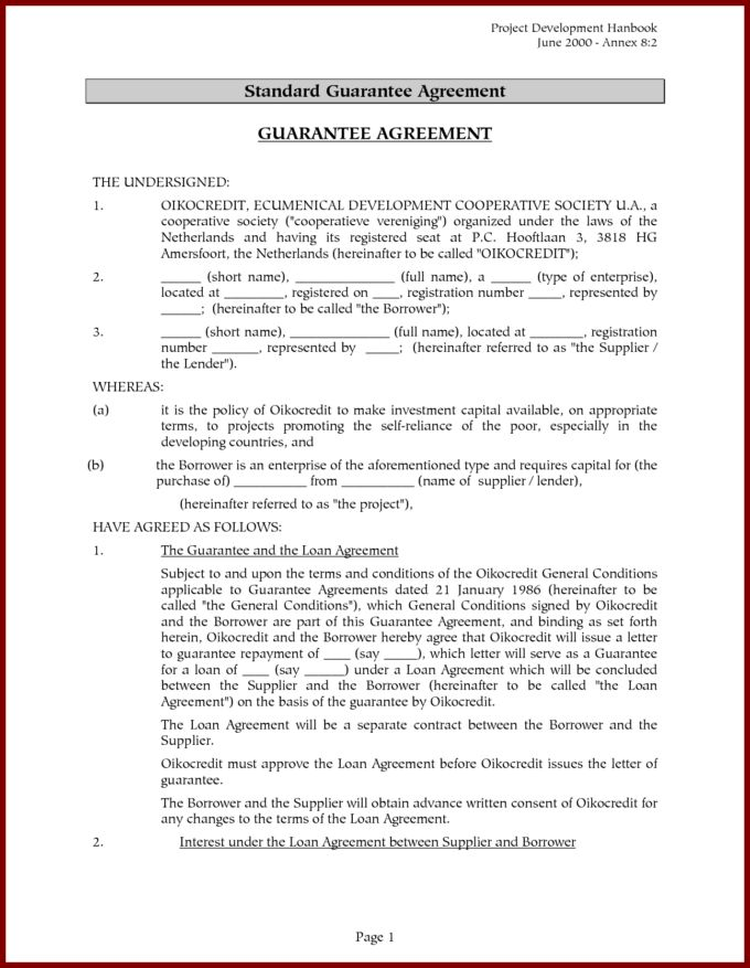 Fabulous Standard Guarantee Agreement Letter For Loan With Project ...