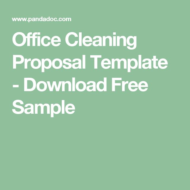 Office Cleaning Proposal Template - Download Free Sample ...