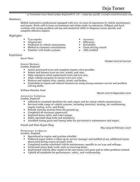 Automotive CV Examples | CV Templates | LiveCareer
