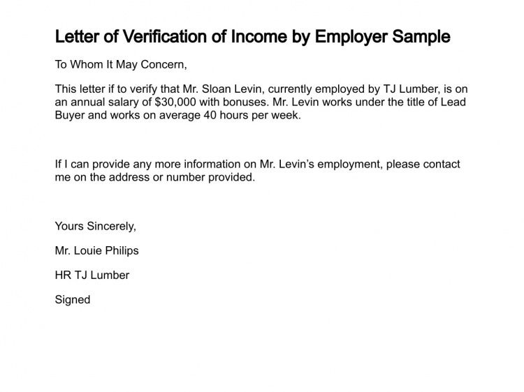 employment income verification letter. proof of employment letter ...