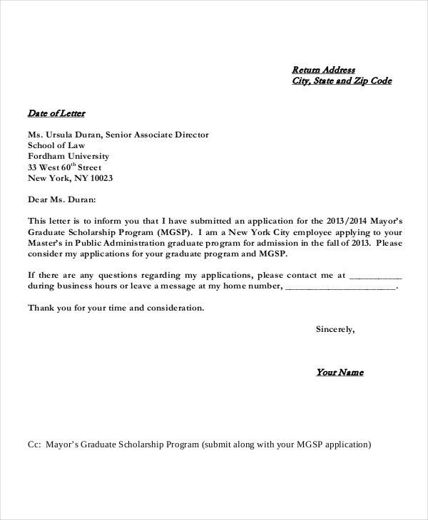 Scholarship Application Letters - 8+ Free Word, PDF Documents ...