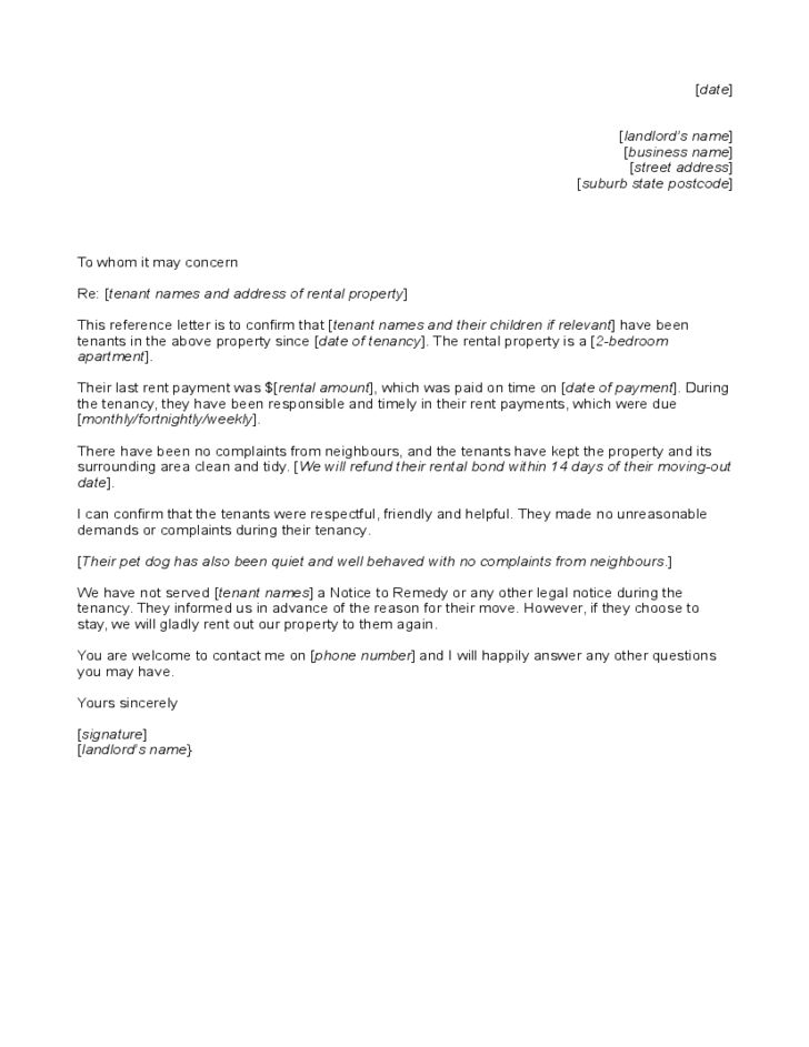 Reference Letter to Tenant from Landlord Free Download