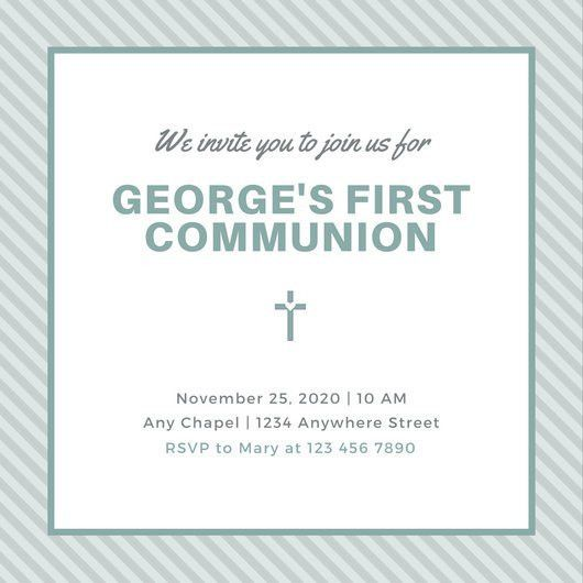 Blue Stripes and Icon Boy First Communion Invitation - Templates ...