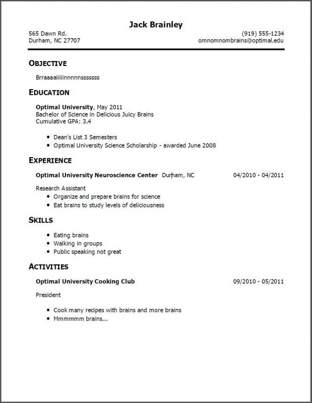 Resume Examples For Jobs With No Experience. High School Student ...