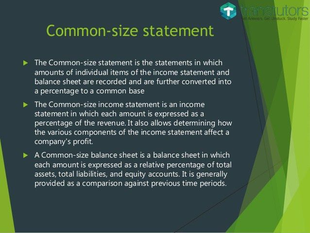 Common Size Income Statement and Balance Sheet | Accounting