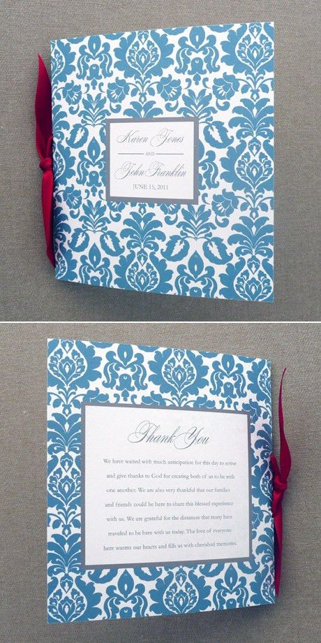 Wedding Program Template – 4-Page Rococo Square Booklet – Download ...