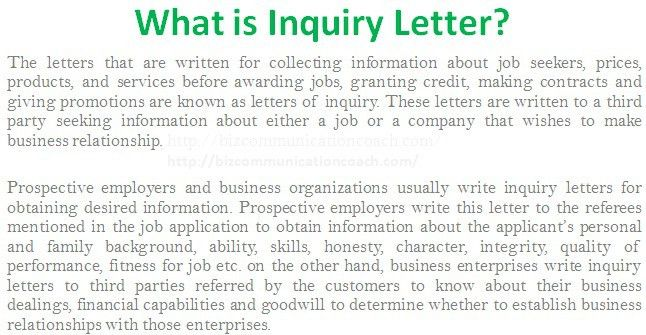 What is Inquiry Letter in Business Communication? - Business ...