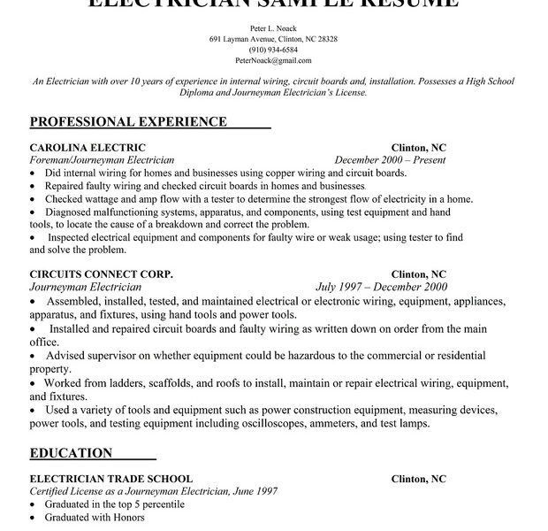 electrician resume samples journeyman electrician resume samples ...