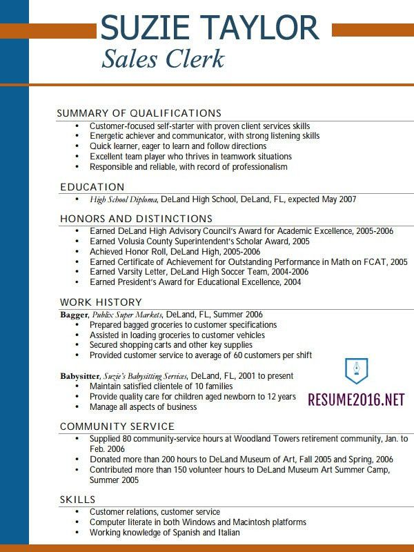 Resume Examples For Highschool Students. Food Delivery Position ...