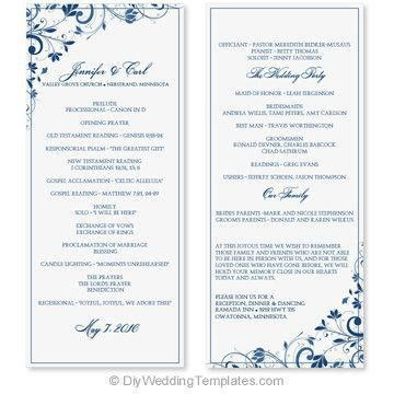 Wedding Program Template - Instant Download - EDIT YOURSELF - Chic ...