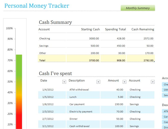 Personal money tracker - Office Templates