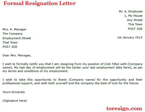 Sample Formal Letter Of Resignation