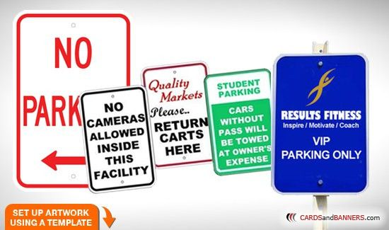 Aluminum Parking Signs | CARDSandBANNERS.com | Full color printing ...