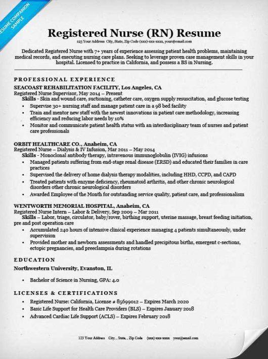 Nursing Resume Example. Registered Nurse Rn Resume Sample Tips ...