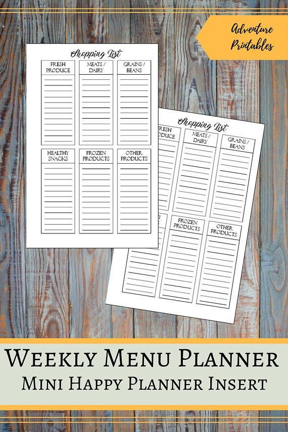 Shopping List Printable Insert for the Mini Happy Planner
