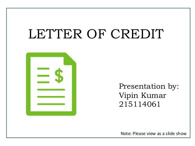 letter of credit presentation by Vipin
