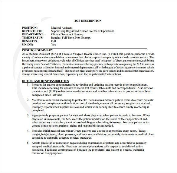 9+ Medical Assistant Job Description Templates – Free Sample ...