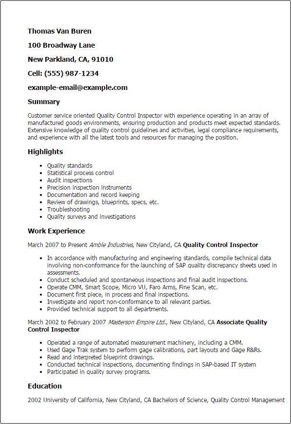 Excellent Quality Inspector Resume 4 Inspector Resume Samples ...