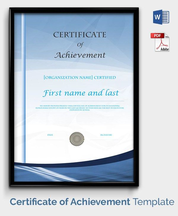Certificate Of Achievement Template - 9+ Free Word, PDF, PSD ...