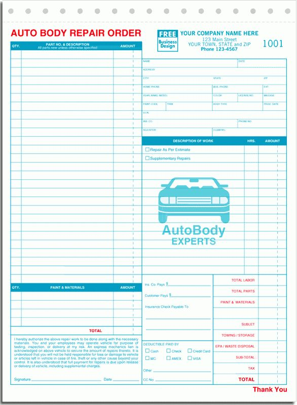 ANS Business Forms - Autobody Repait Order - Form 6597