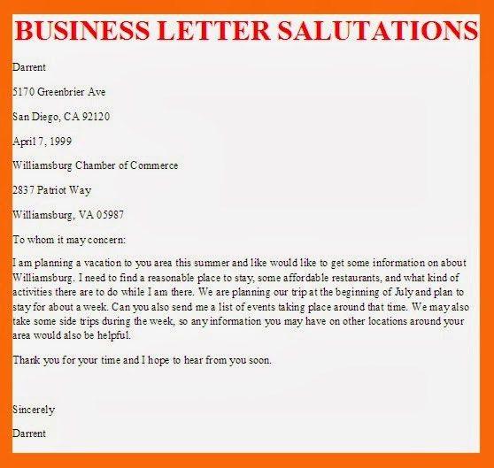 Cover letter formal salutation
