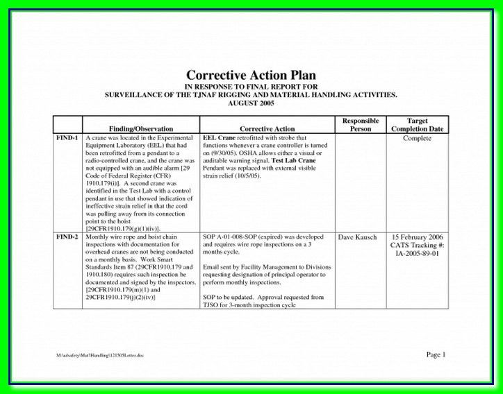 Corrective Action Plan Template Free Best Business Problem By ...