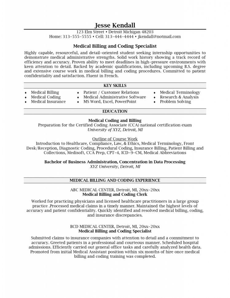 Fascinating Objective For Medical Billing And Coding Resume 67 ...