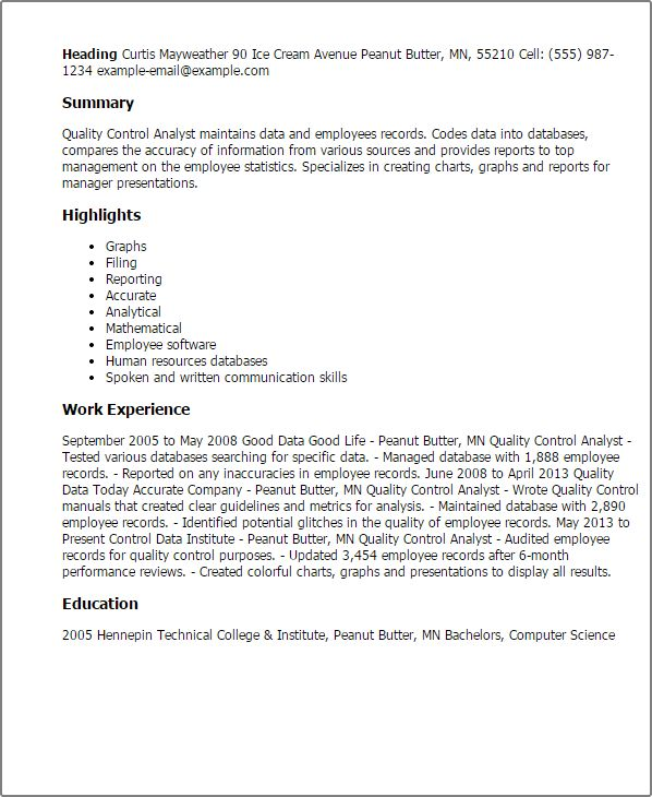 Professional Quality Control Analyst Templates to Showcase Your ...
