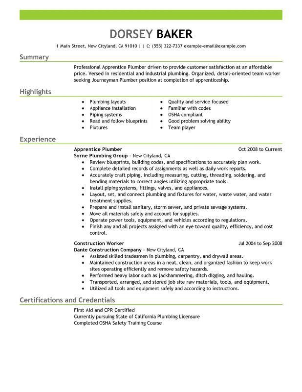 Unforgettable Apprentice Plumber Resume Examples to Stand Out ...