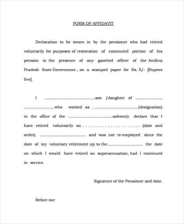 24+ Sample Affidavit Forms