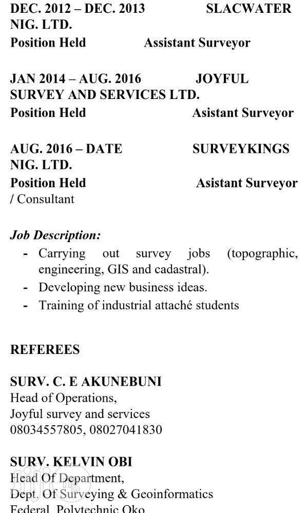 Land Surveyor resume from Godswill Chimezie Madueme in Lagos ▷ CV ...