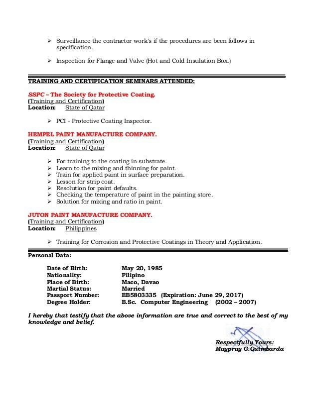 RESUME OF QAQC INSPECTOR COATING/PAINTING AND INSULATION