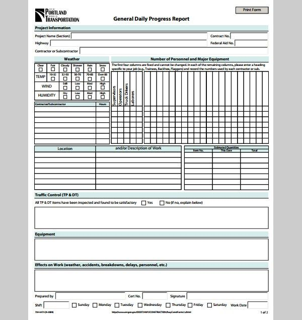 Report Template for Daily Progress, Sample of Daily Progress ...
