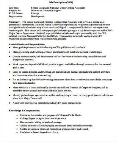 Underwriter Job Description Sample - 9+ Examples in Word, PDF