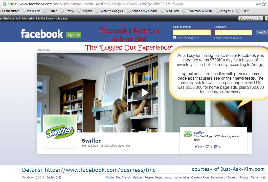 An Example Of Facebook's New Premium Logout Ads