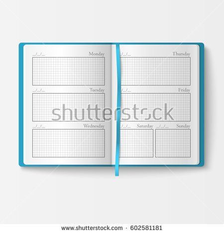 Set Open Realistic Notebooks Pages Diary Stock Vector 608609351 ...