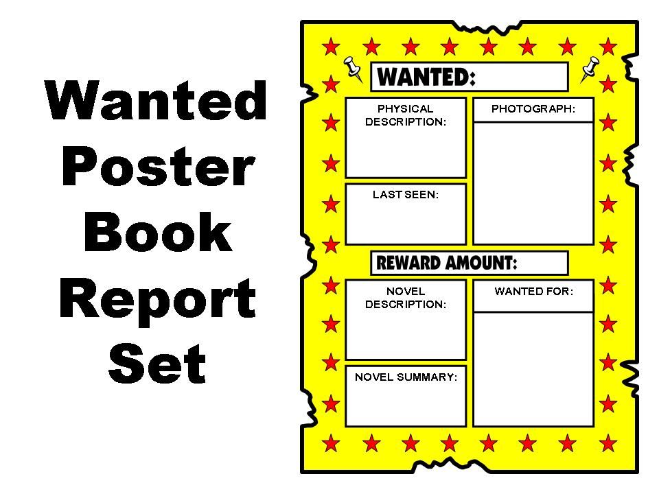 Wanted Poster Book Report Set | Other Files | Documents and Forms