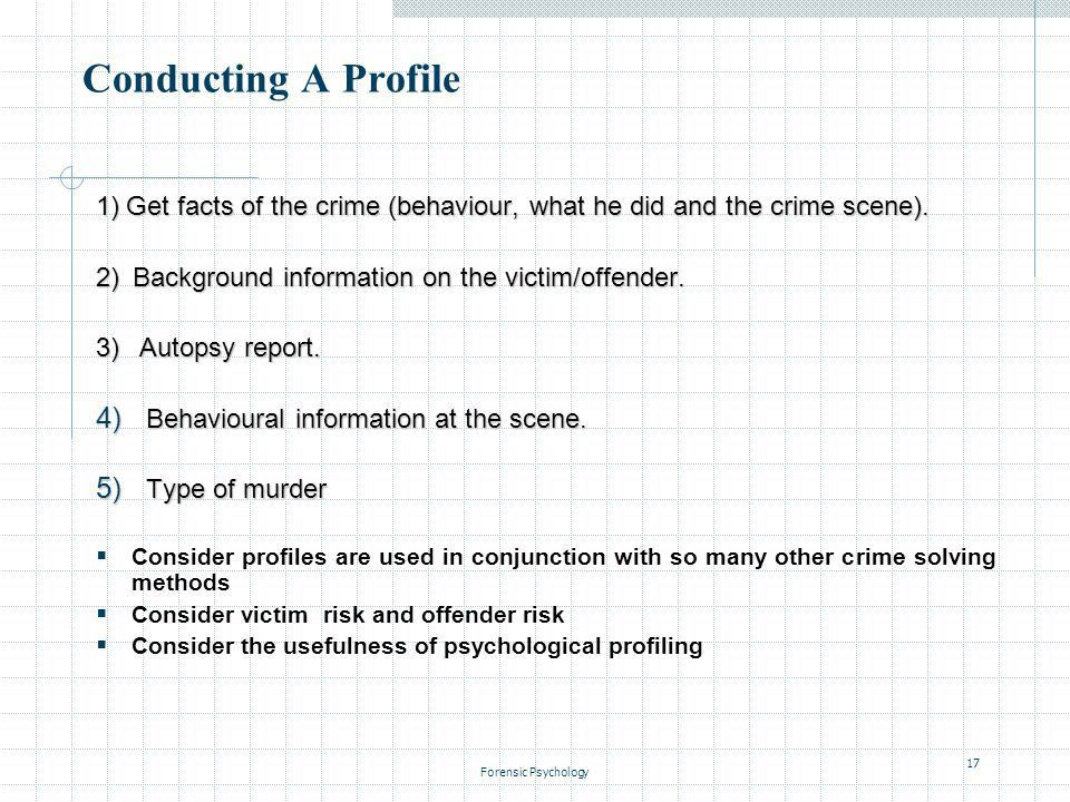 Forensic Psychology1 FORENSIC PSYCHOLOGY LECTURE 7 Psychological ...