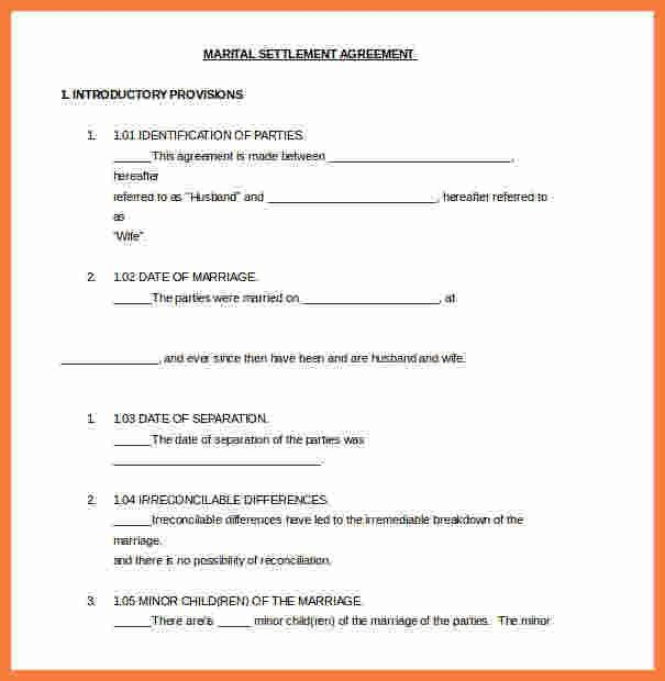 9+ divorce settlement agreement template | Marital Settlements ...