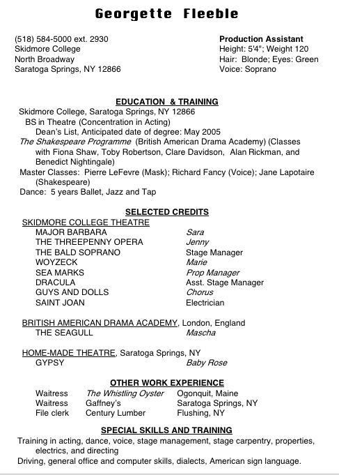 Theatre Resume. Theatre Resume Template Theatre Director Resume ...