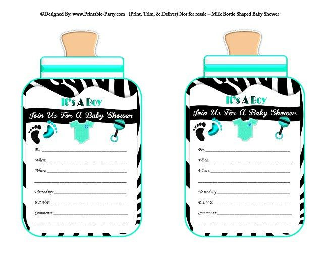 Boy Printable Bottle Baby Shower Invitations | Babies Milk Bottle ...