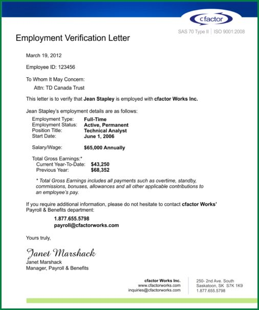 13 Employment Verification Letter for Loan | applicationsformat.info