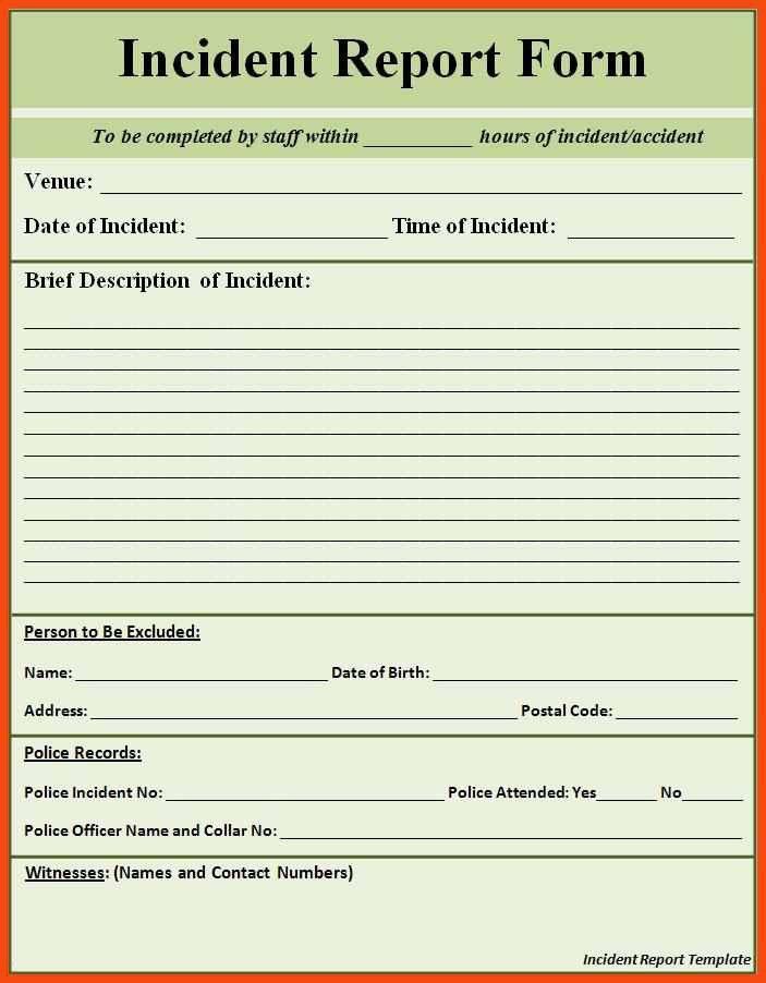 incident report template | program format