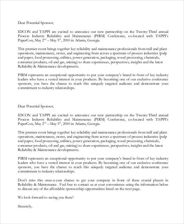 Sponsorship Letter. Sponsorship Letter (Improved) Sports ...