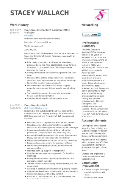 Hr Assistant Resume samples - VisualCV resume samples database