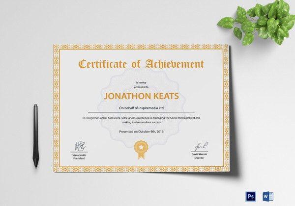 29+ Fabulous Achievement Certificate Templates & Designs   Free ...