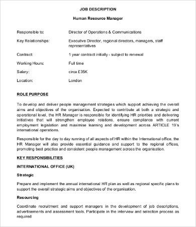 Human Resource Manager Job Description   10+ Free Word, PDF Format .