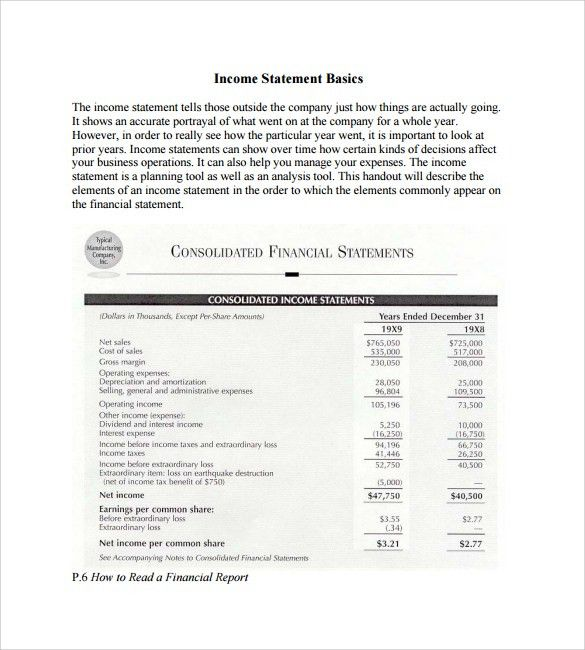 Simple Income Statements - 6+ Free Documents to Download in PDF , Word
