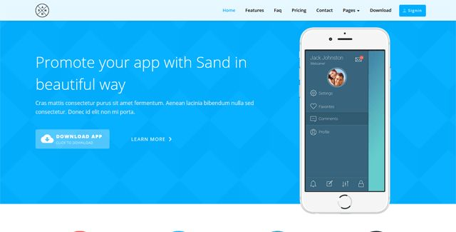 Sand - Creative Mobile App Template - HTML Bootstrap Template ...