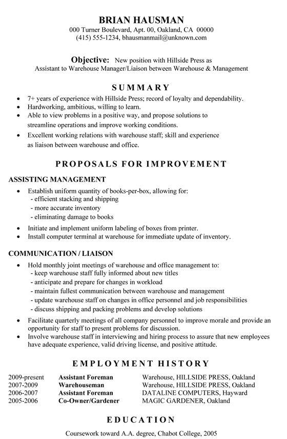 Enjoyable Design Resume For Warehouse 12 Warehouse Worker Resume ...